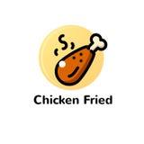 Linea sottile illustrazione di vettore fritta pollo Immagine Stock Libera da Diritti