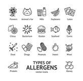 Linea sottile insieme del nero dei segni degli allergeni dell'icona Vettore Fotografia Stock
