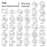 Linea sottile insieme dell'icona, simboli raccolta, schizzi di vettore, illustrazioni di logo, server di protezione dei dati di s royalty illustrazione gratis
