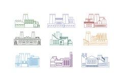 Linea sottile insieme della fabbrica Vettore illustrazione di stock