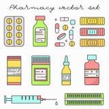 Linea sottile insieme della medicina delle droghe delle pillole di vettore illustrazione vettoriale