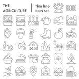 Linea sottile insieme di agricoltura dell'icona, coltivante i simboli raccolta, schizzi di vettore, illustrazioni di logo, segni  illustrazione vettoriale