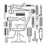 Linea sottile insieme di oggetti del parrucchiere isolati su fondo bianco illustrazione di stock