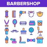Linea sottile insieme di vettore degli accessori del parrucchiere delle icone illustrazione di stock