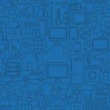 Linea sottile Internet di modello blu scuro senza cuciture di cose illustrazione vettoriale