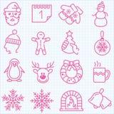 Linea sottile inverno ed icone di tempo di Natale messe Fotografia Stock Libera da Diritti