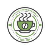 Linea sottile iscrizione di progettazione dell'alimento di logo del distintivo del caffè per il ristorante, il caffè del menu del Fotografie Stock