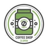 Linea sottile iscrizione di progettazione dell'alimento di logo del distintivo del caffè per il ristorante, il caffè del menu del Immagini Stock Libere da Diritti