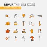 Linea sottile lineare icone di rinnovamento di riparazione della Camera messe con il riparatore e gli strumenti illustrazione di stock