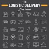 Linea sottile logistica insieme dell'icona, simboli di consegna Fotografia Stock