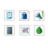Linea sottile messa icone variopinto semplice di affari illustrazione di stock