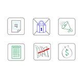 Linea sottile messa icone variopinto semplice di affari illustrazione vettoriale