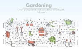 Linea sottile modello di giardinaggio di vettore dell'insegna del manifesto illustrazione vettoriale