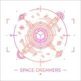 Linea sottile moderna illustrazione dei sognatori dello spazio Simbolo cosmico del profilo Mono progettazione astratta lineare se Fotografie Stock Libere da Diritti
