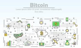 Linea sottile moderna illustrazione piana di vettore di pubblicità di Bitcoin di progettazione Fotografia Stock Libera da Diritti