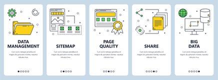 Linea sottile moderna insieme di vettore dell'insegna di web di concetto della gestione dei dati royalty illustrazione gratis
