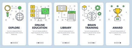 Linea sottile moderna insieme di vettore dell'insegna di web di concetto di istruzione illustrazione vettoriale