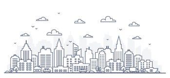 Linea sottile panorama della città di stile Illustrazione della via urbana del paesaggio con le automobili, edifici per uffici de illustrazione vettoriale