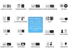 Linea sottile perfetta icone e simboli del pixel per in profondità imparare Fotografie Stock Libere da Diritti