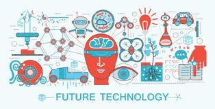 Linea sottile piana moderna concetto futuro di tecnologia di scienza di progettazione illustrazione vettoriale