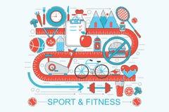 Linea sottile piana moderna forma fisica di progettazione e concetto sani di sport illustrazione vettoriale