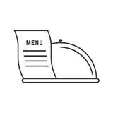 Linea sottile piatto ed icona del menu illustrazione vettoriale