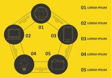 Linea sottile progettazione di Infographic di vettore con le icone e 5 opzioni o punti Infographics per il concetto di affari pu? illustrazione di stock