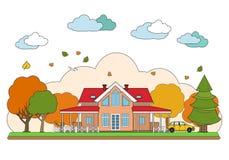 Linea sottile progettazione piana del paesaggio di autunno Illustrazione di vettore, isolata su fondo bianco illustrazione vettoriale