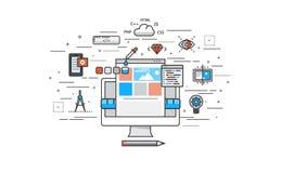 Linea sottile progettazione piana del processo di costruzione del sito Web Immagine Stock
