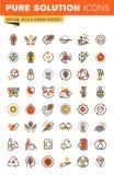 Linea sottile raccolta piana dell'ambiente delle icone di web di progettazione Fotografia Stock