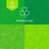 Linea sottile san Patrick Day Patterns Set Fotografia Stock Libera da Diritti