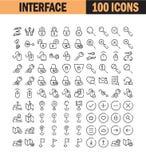 Linea sottile universale insieme dell'icona illustrazione vettoriale
