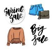 Linea sottile vendita dei vestiti stabiliti dell'illustrazione di modo di stile illustrazione vettoriale