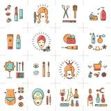 Linea stabilita donna di bellezza della stazione termale cosmetica di vettore di arte delle icone bella royalty illustrazione gratis