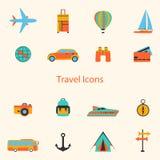 Linea stabilita icone, segno e simboli piani di vettore degli elementi di viaggio di progettazione illustrazione vettoriale