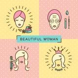 Linea stabilita progettazione piana della bella donna dell'insegna di bellezza di arte dell'icona illustrazione di stock