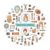Linea stabilita stazione termale di bellezza del cosmetico di vettore della donna di arte delle icone bella Immagine Stock Libera da Diritti