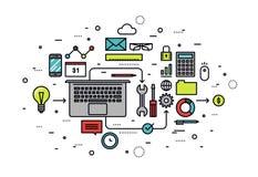 Linea Startup illustrazione dell'officina di stile Fotografia Stock
