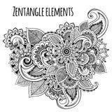 Linea stile decorativo dello zentangle dei fiori di arte ispirato Progettazione di vettore per la stampa o il tatuaggio della mag Immagini Stock Libere da Diritti