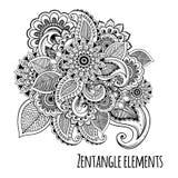 Linea stile decorativo dello zentangle dei fiori di arte ispirato Progettazione di vettore per la stampa o il tatuaggio della mag Fotografia Stock