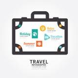 Linea stile del diagramma di progettazione dei bagagli di viaggio di vettore di Infographics Immagini Stock Libere da Diritti