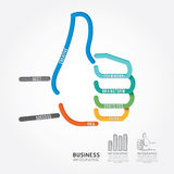 Linea stile del diagramma di progettazione del segno della mano di vettore di Infographics buona Fotografia Stock