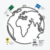Linea stile del diagramma di traffico del mondo. Fotografia Stock Libera da Diritti