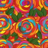 Linea stile del fiore che disegna modello senza cuciture Fotografie Stock