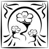 Linea stile del fiore del Giappone Fotografia Stock Libera da Diritti