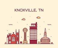 Linea stile di vettore del Tennessee U.S.A. dell'orizzonte di Knoxville fotografia stock libera da diritti