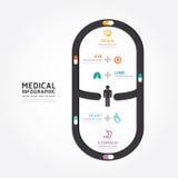 Linea stile medica del diagramma di progettazione della capsula di vettore di Infographics illustrazione di stock