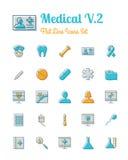 Linea stile piana messa icone mediche royalty illustrazione gratis