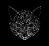 Linea stile sottile del gatto di vettore Del gatto poli illustrazione di progettazione in basso Animale astratto del mammifero Si Fotografie Stock