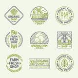 Linea stile stabilita organica di colore di logo fresco dell'azienda agricola e del negozio per il natura Fotografie Stock Libere da Diritti